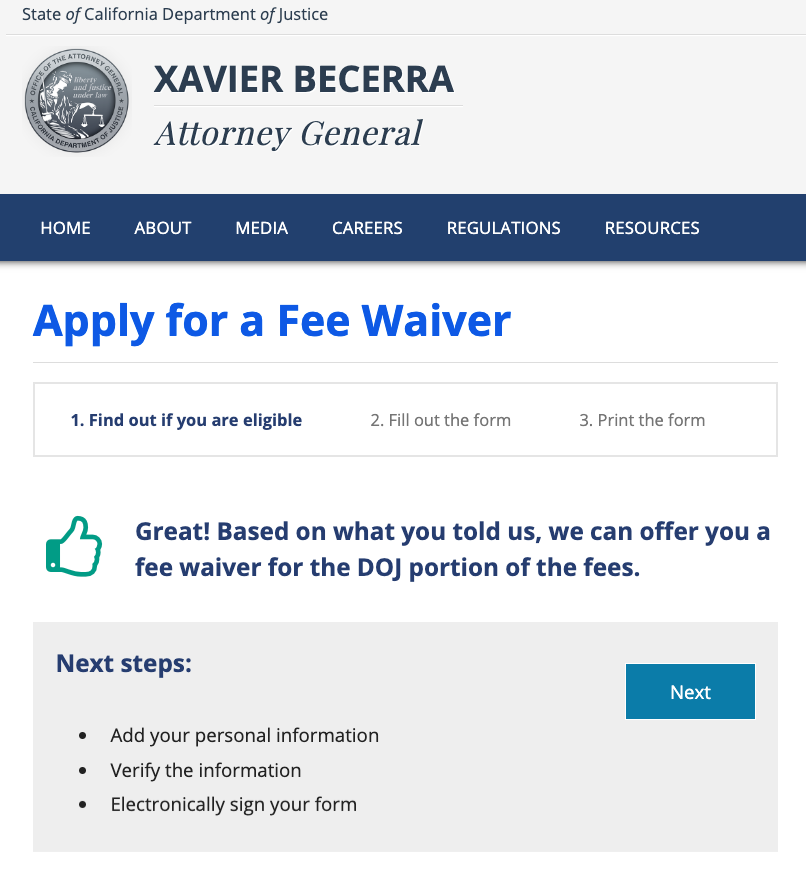 DOJ Fee Waiver Screenshot
