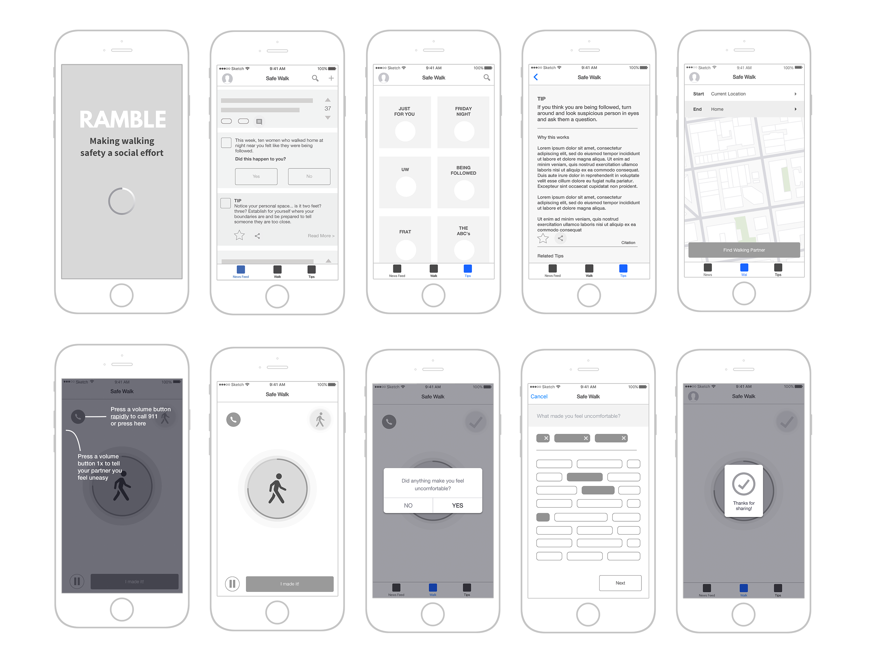 ramble wireframes